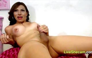 Shemale impressive cumshot webcam