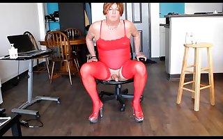 CD in red lingerie