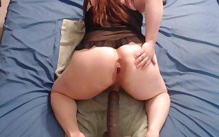 sissy rides big black dildo