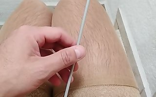 Sounding with a knitting needle 4mm  and cum after